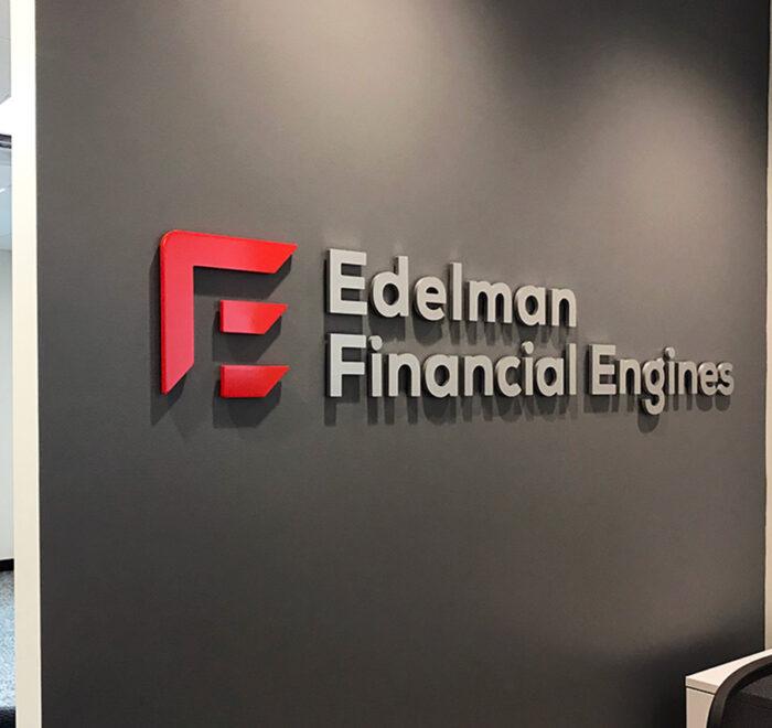 Edelman Financial dimensional lettering
